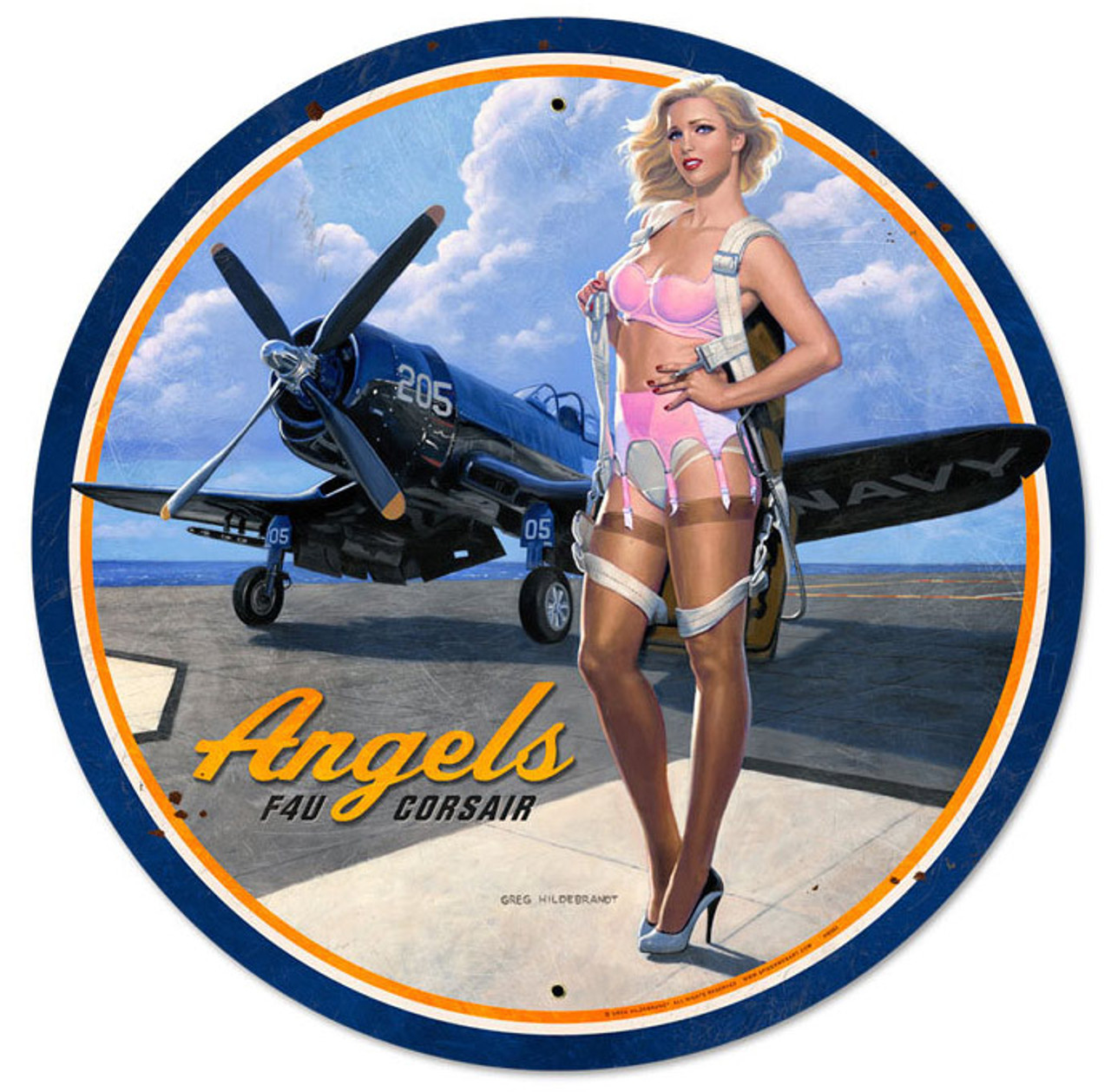 Retro Angels Corsair Round Metal Sign 28 x 28 Inches