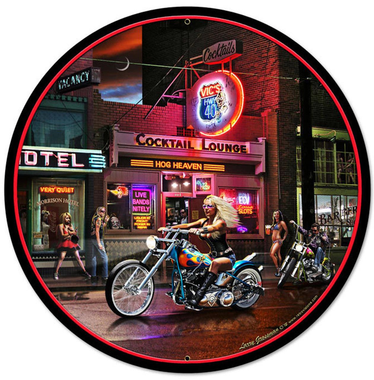 Retro Biker Bar Round Metal Sign 28 x 28 Inches