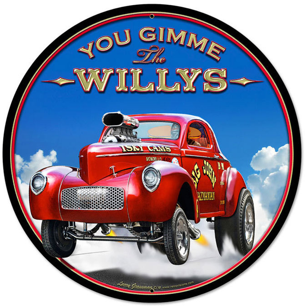 Retro Gimme The Willys Round Metal Sign 28 x 28 Inches