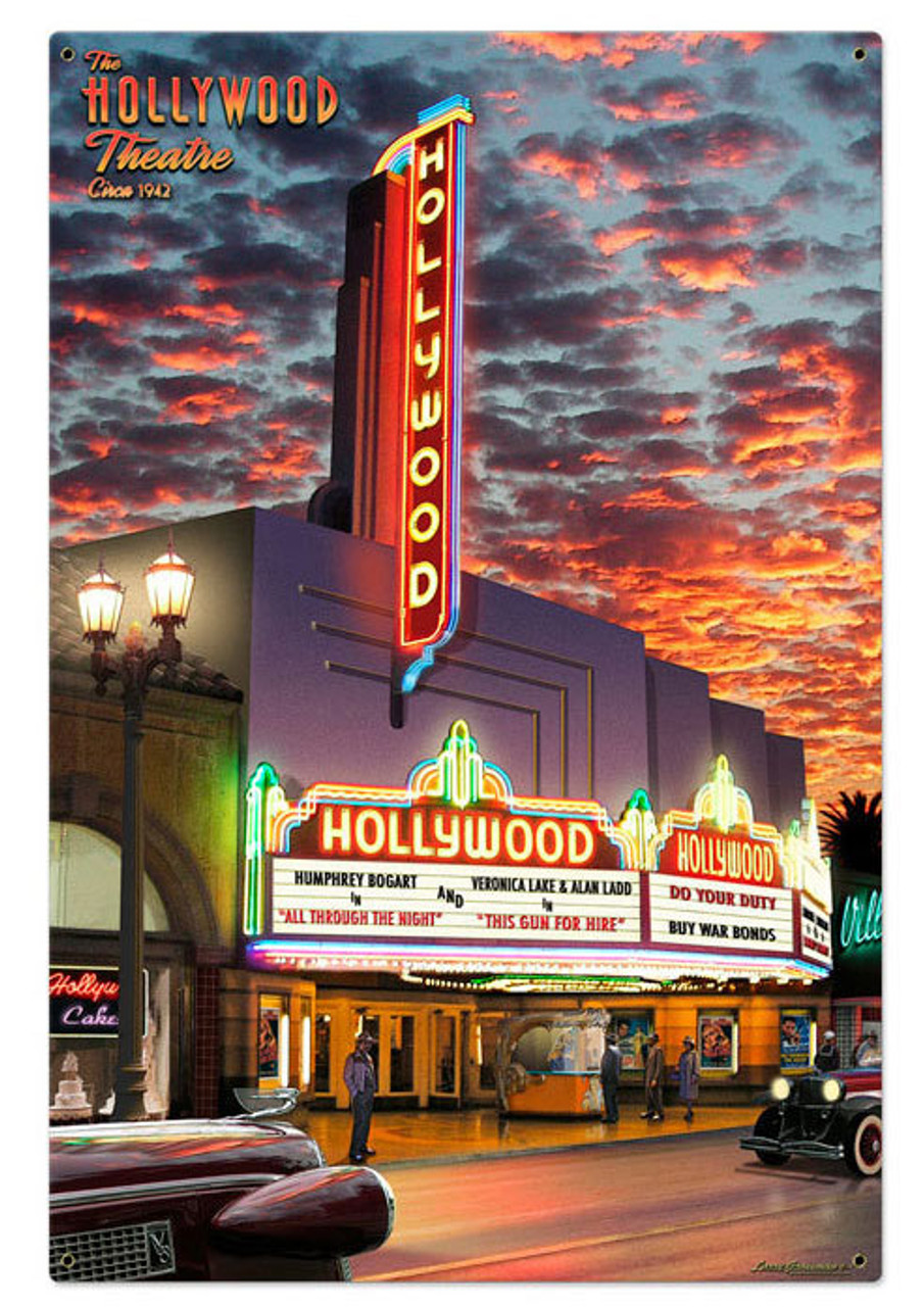 Hollywood Theater Metal Sign Metal Sign 24 x 36 Inches