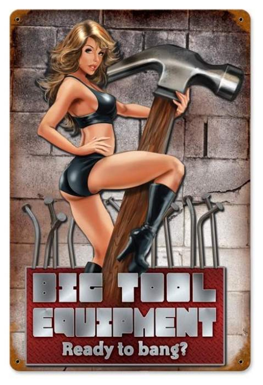 Vintage Ready to Bang  - Pin-Up Girl Metal Sign 12 x 18 Inches
