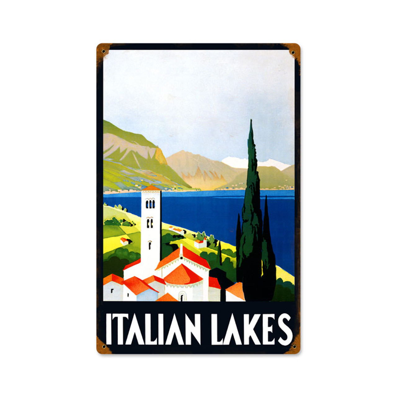 Retro Italian Lakes  Metal Sign   12 x 18 Inches
