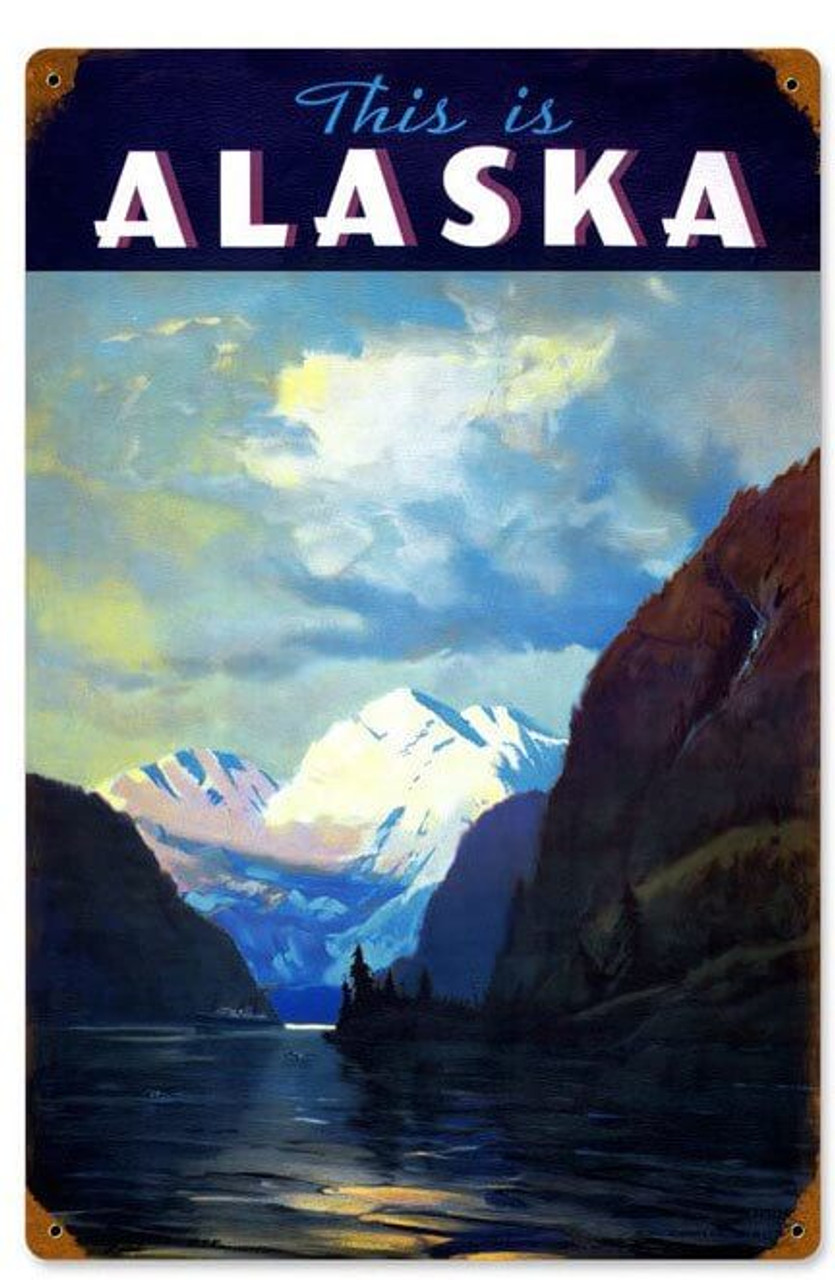 Retro This is Alaska  Metal Sign 12 x 18 Inches