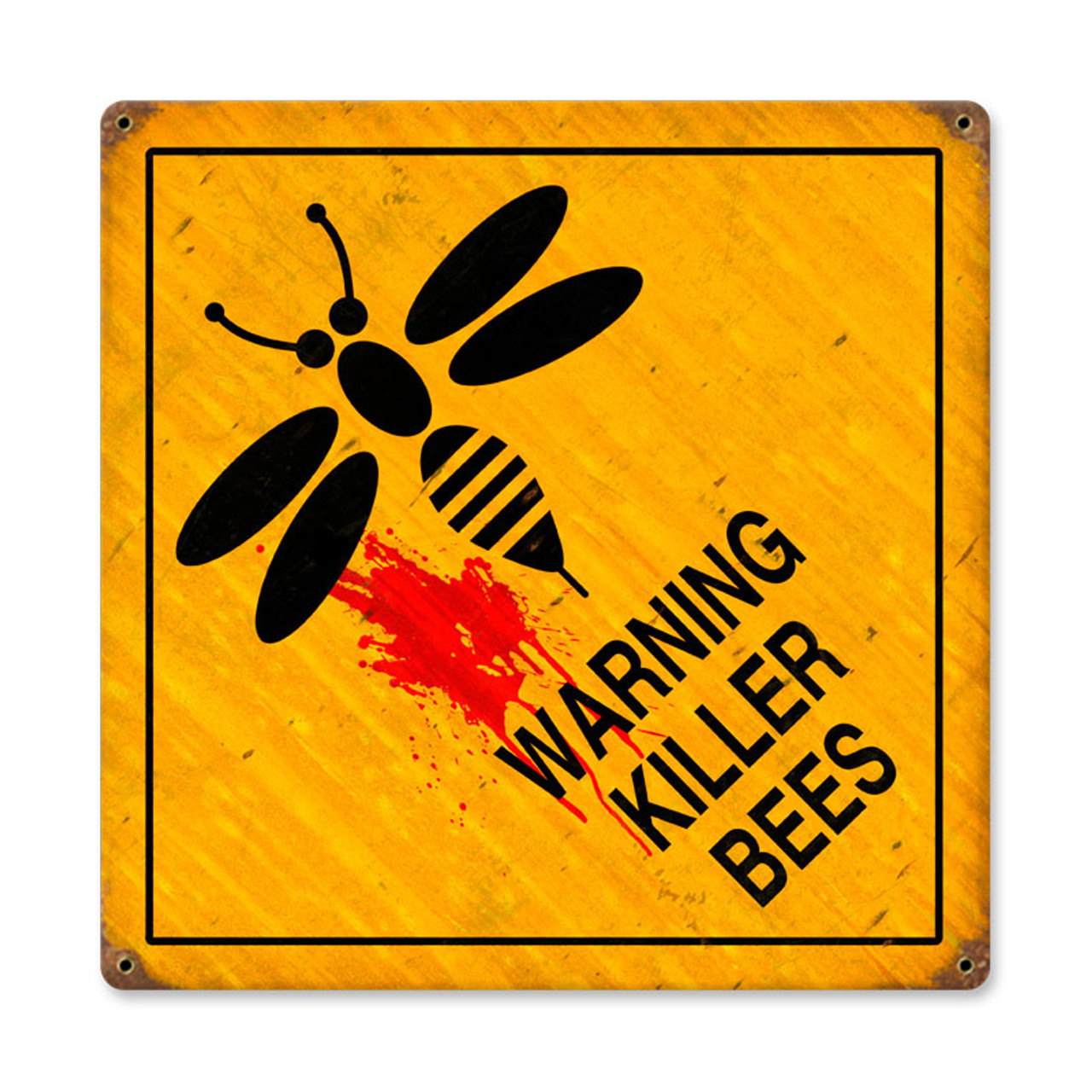 Retro Killer Bees  Metal Sign   12 x 12 Inches