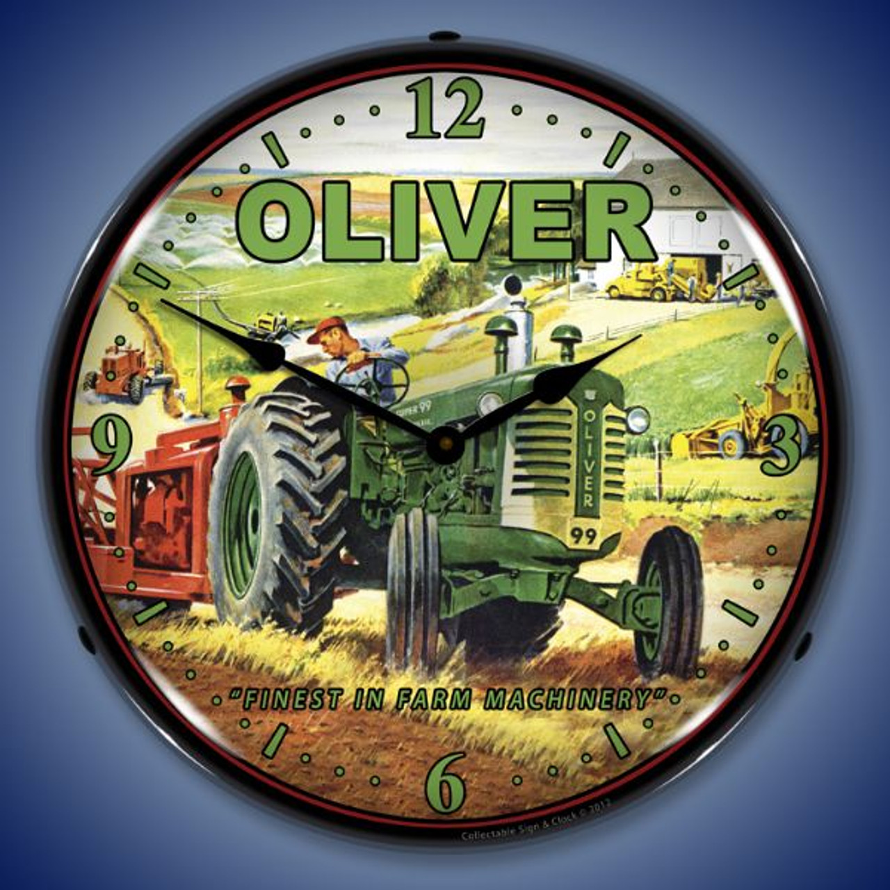 Oliver Tractor Lighted Wall Clock 14 x 14 Inches