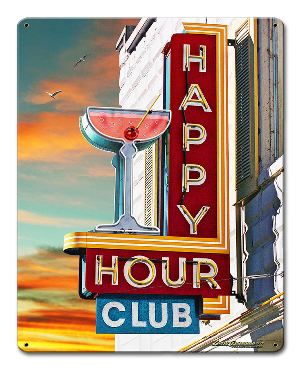 Happy Hour Club Metal Sign 12 x 15 Inches