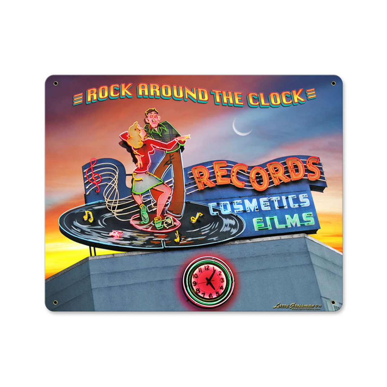 Rock Around the Clock Metal Sign 15 x 12 Inches