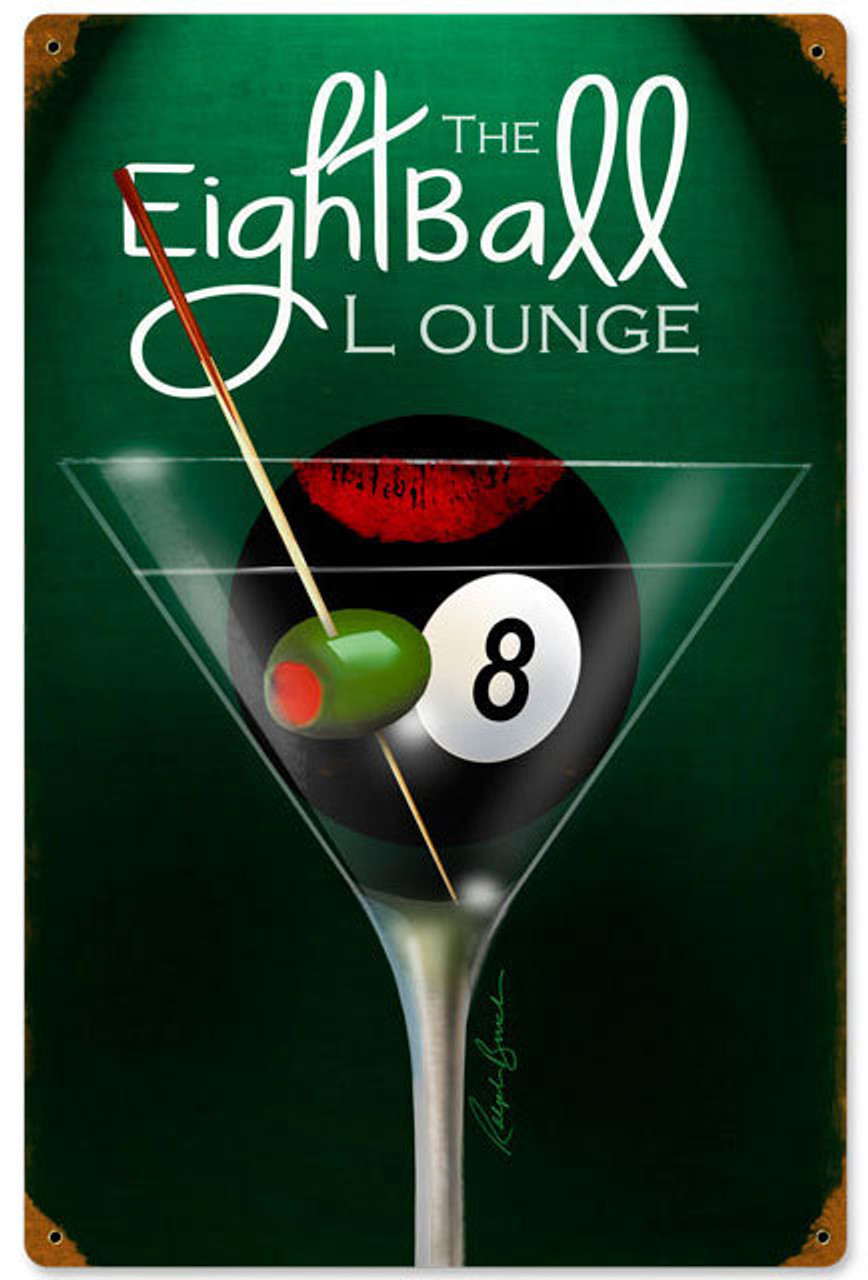 Eight Ball Lounge Vintage Metal Sign 12 x 18 Inches