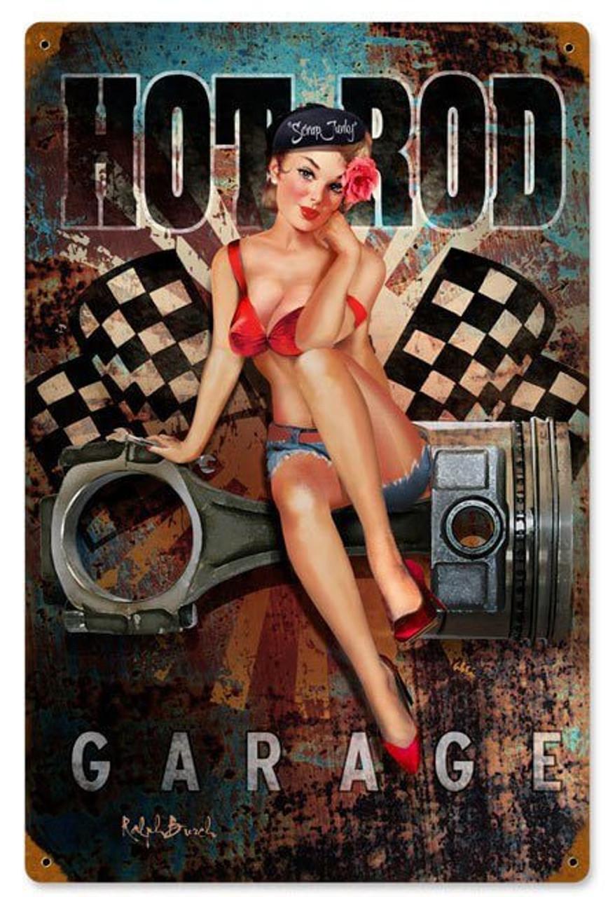 Hot Rod Garage Vintage Metal Sign 12 x 18 Inches