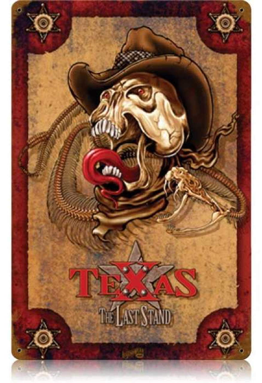 Vintage The Last Stand Texas Metal Sign   12 x 18 Inches