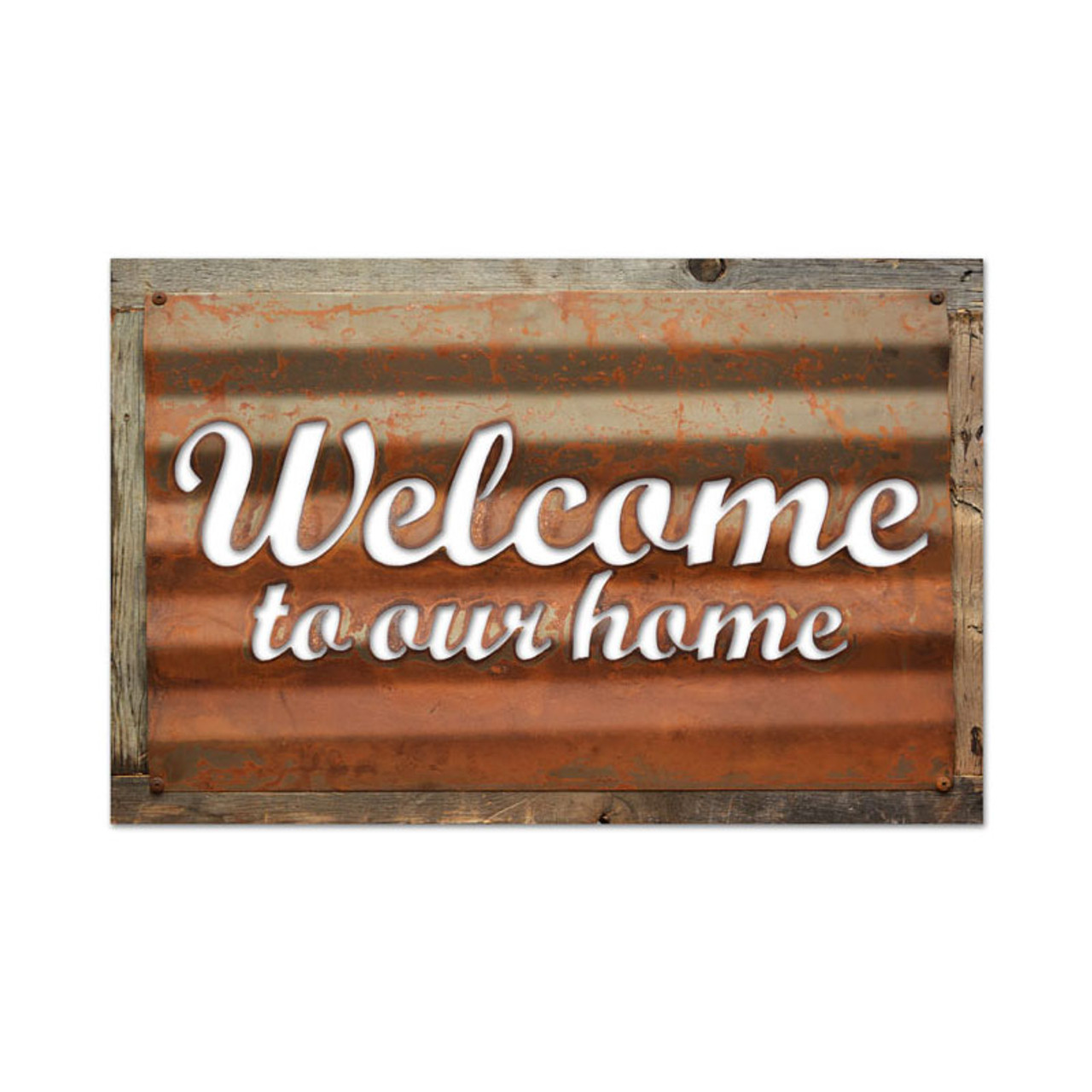 Vintage Welcome Corrugated Rustic Barn Wood Sign 19 x 26 Inches