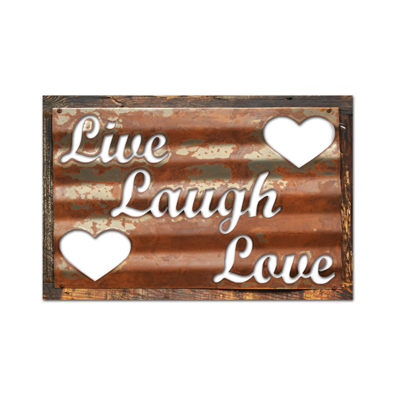 Vintage Live Laugh Love Corrugated Rustic Barn Wood Sign 19 x 26 Inch