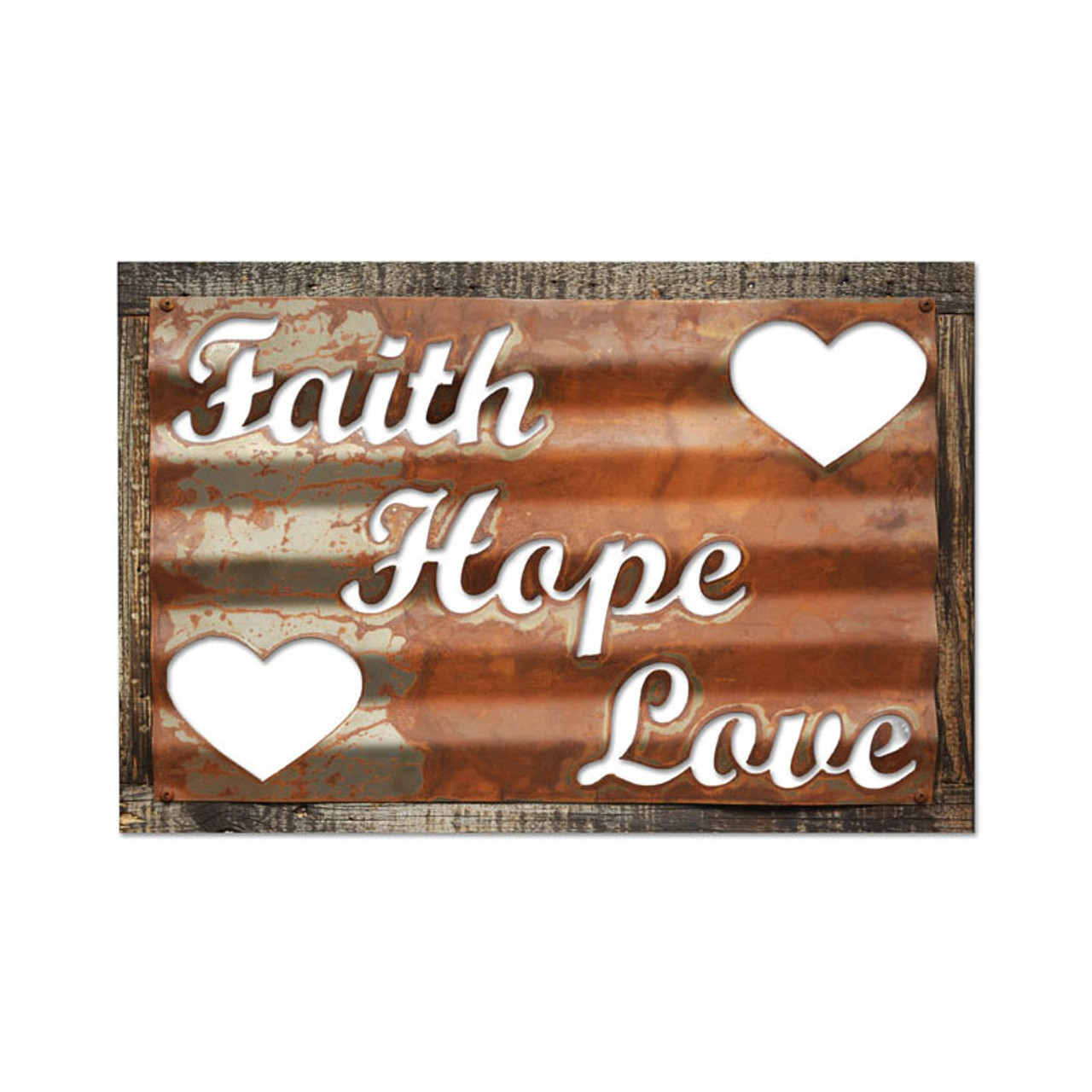 Vintage Faith Hope Love Corrugated Rustic Barn Wood Sign 19 x 26 Inches