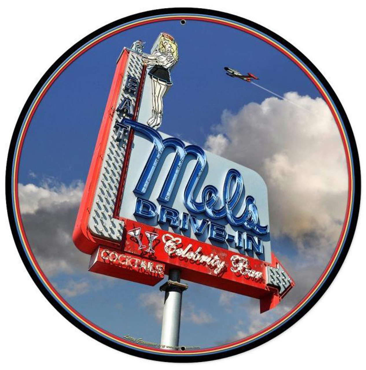 Mels Daytime Round Metal Sign 14 x 14 Inches