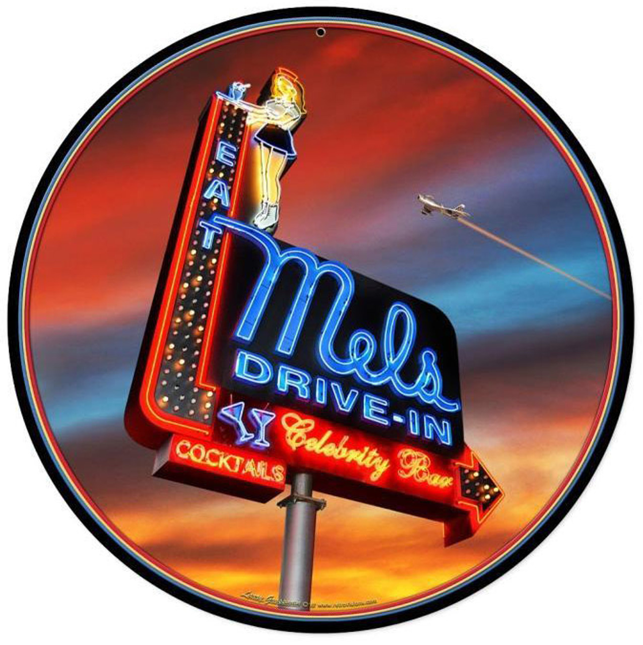 Mels Sunset Round Metal Sign 14 x 14 Inches