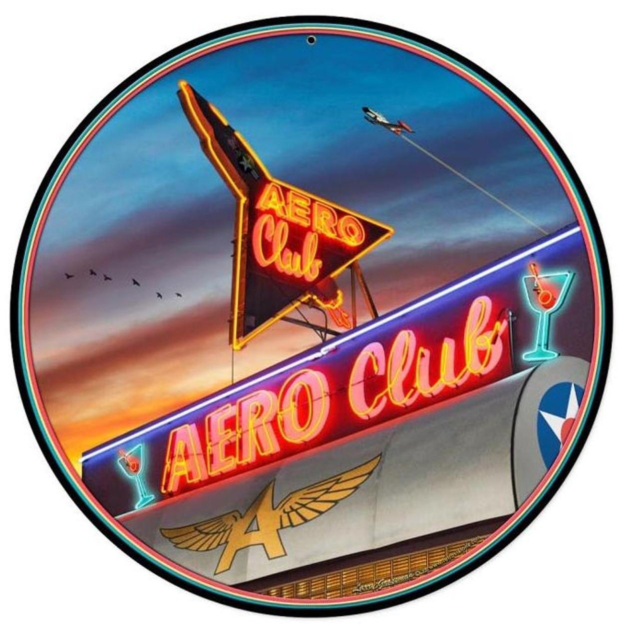 Aero Club Round Round Metal Sign 14 x 14 Inches