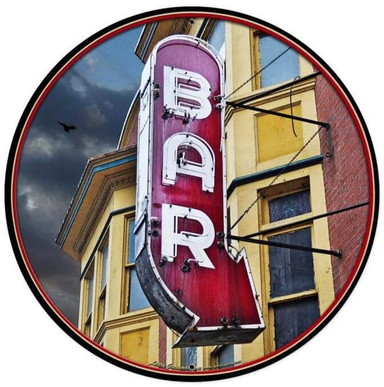 Bar Round Metal Sign  28 x 28 Inches