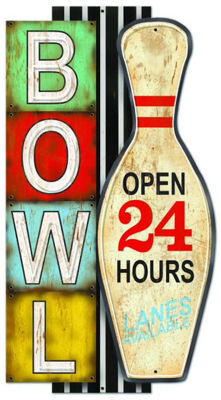 BOWL NEON STYLE Metal Sign 28 x 16 Inches