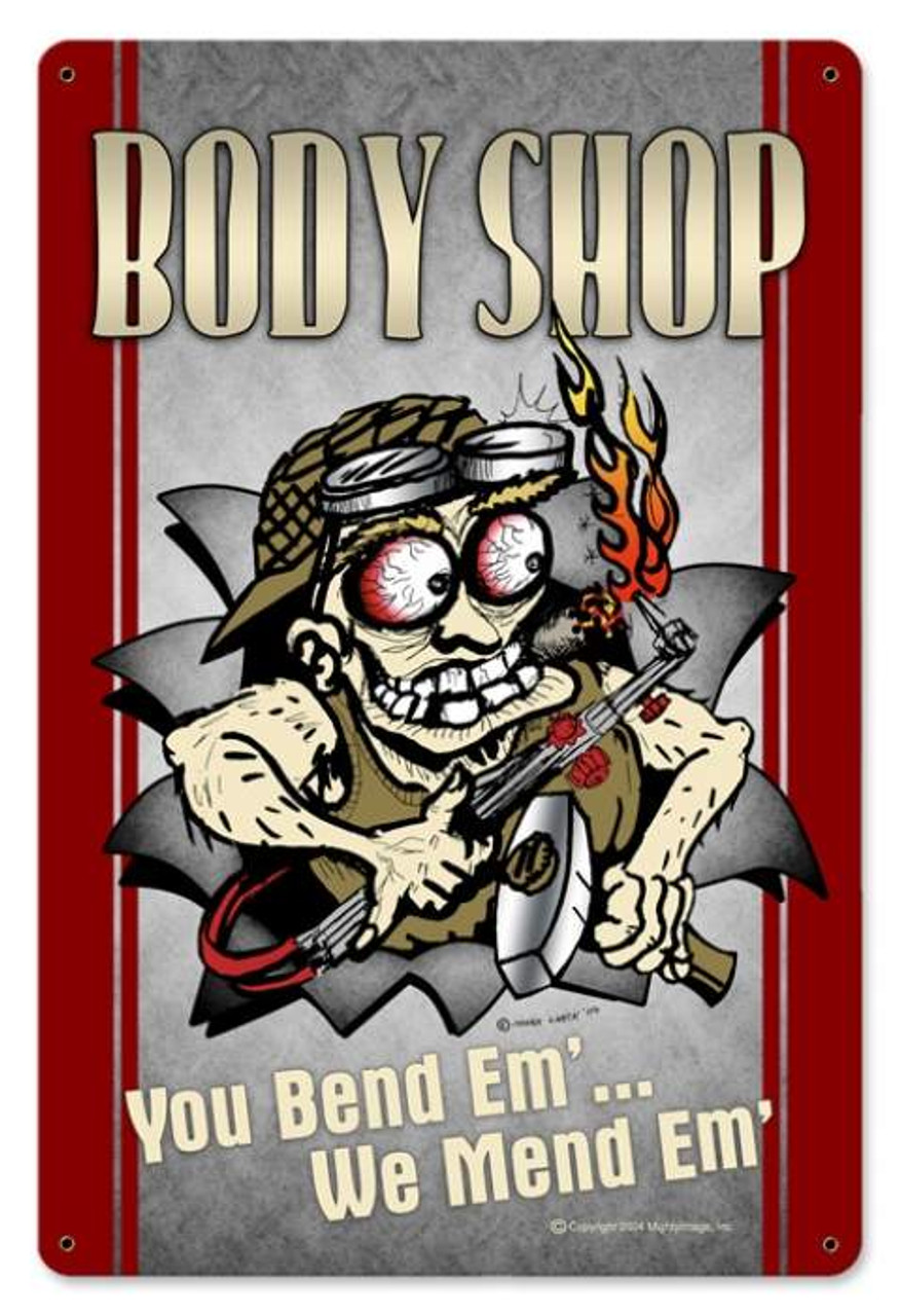 Vintage Body Shop Metal Sign 12 x 18 Inches