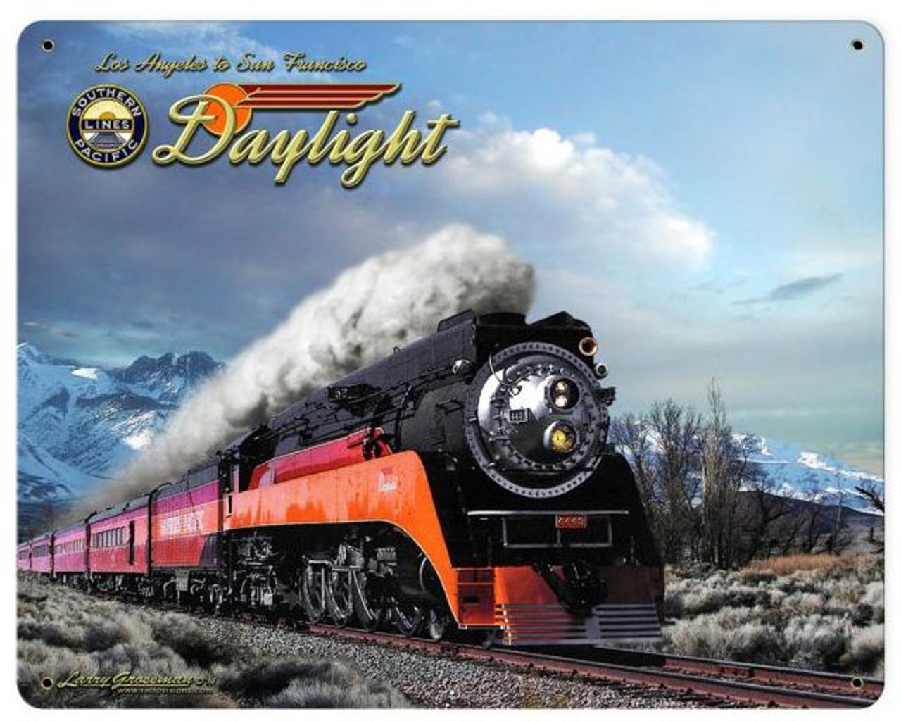 Daylight Winter Train    Metal Sign 15 x 12 Inches