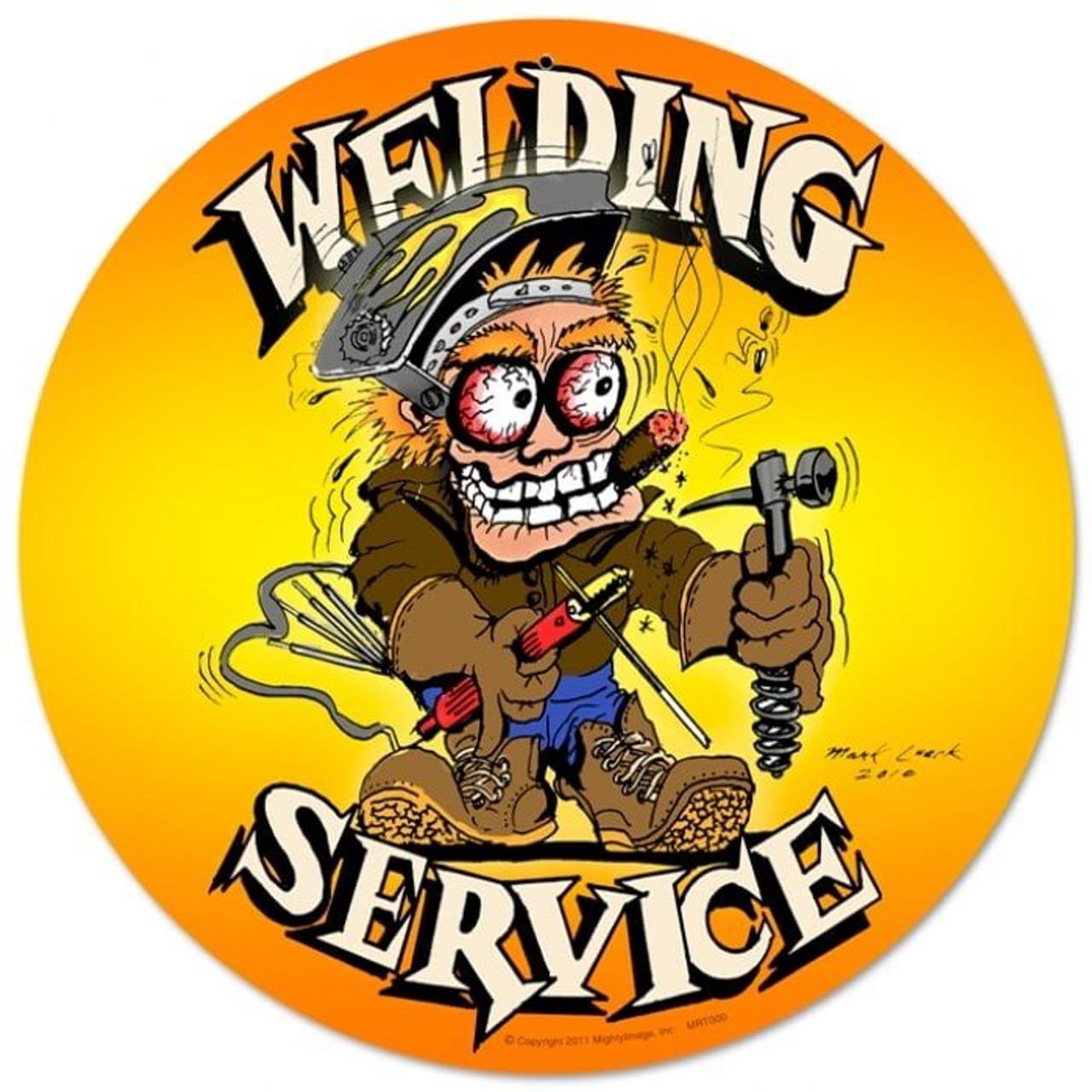 Vintage Welding Service Round Metal Sign 14 x 14 Inches