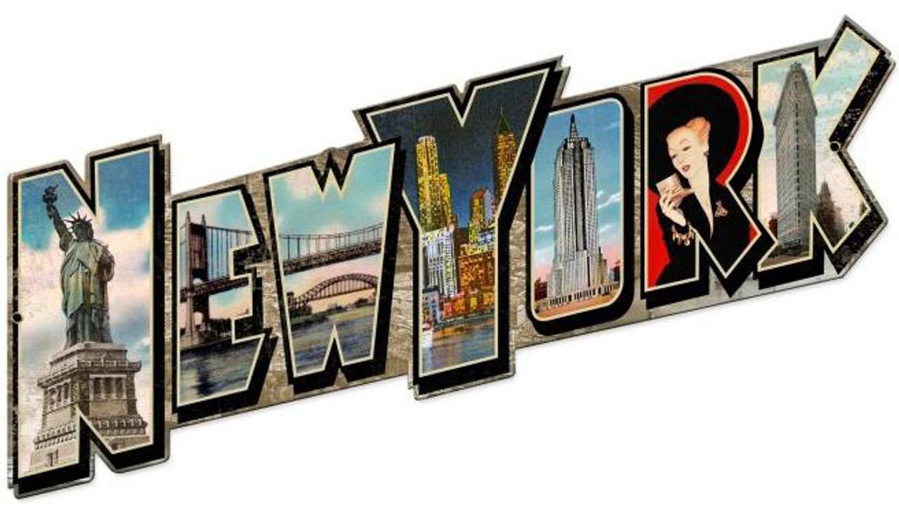New York Landmarks Custom Shape Metal Sign 28 x 16 Inches