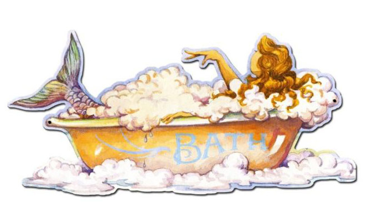 Mermaid Bath Custom Shape Metal Sign 18 x 9 Inches