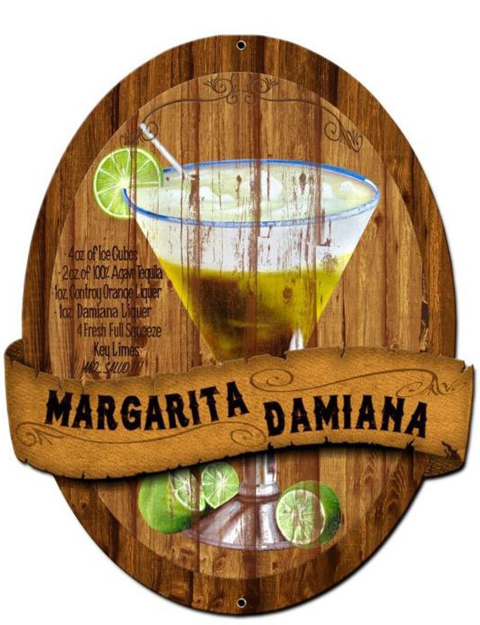 Margarita Damiana Recipe Custom Shape Metal Sign 20 x 24 Inches