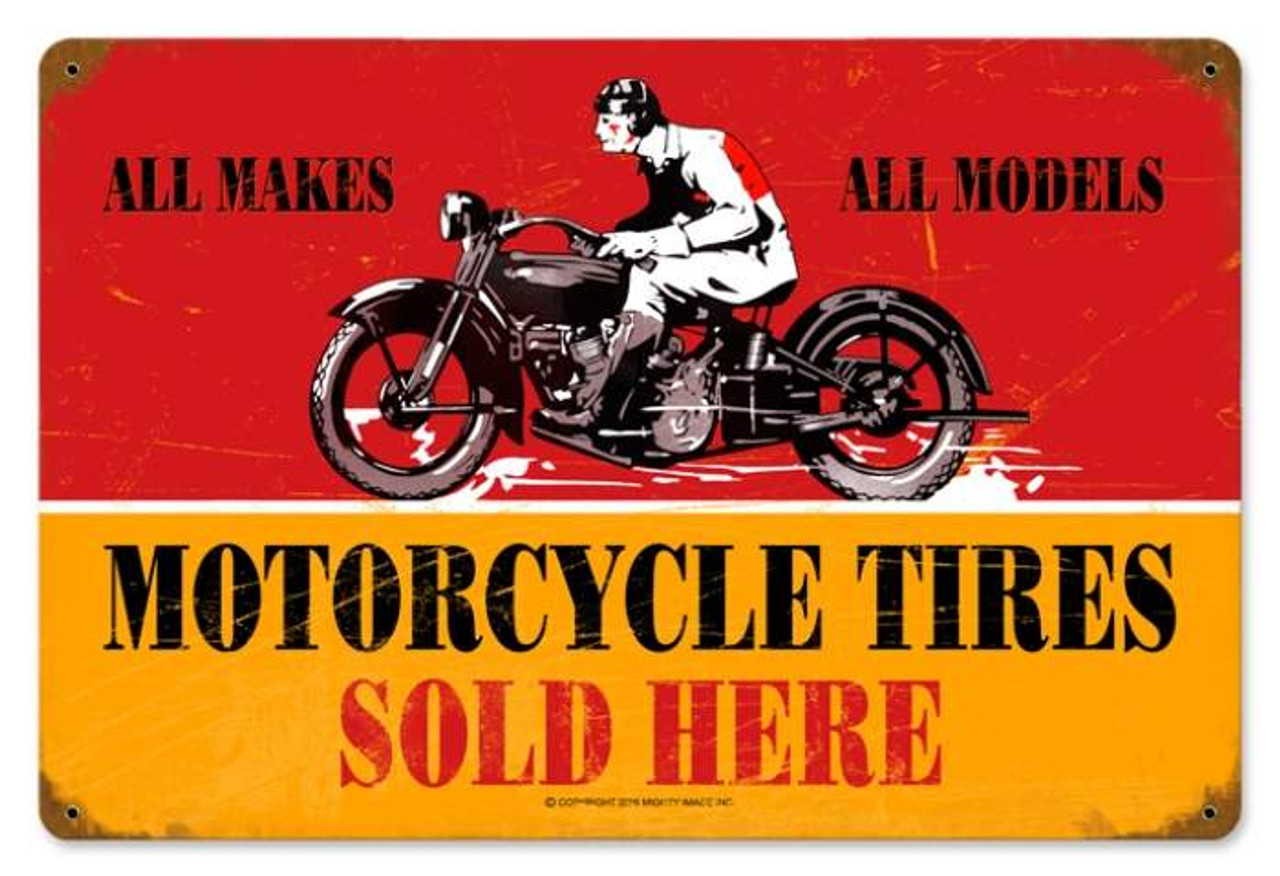 Retro Motorcycle Tires Metal Sign 18 x 12 Inches