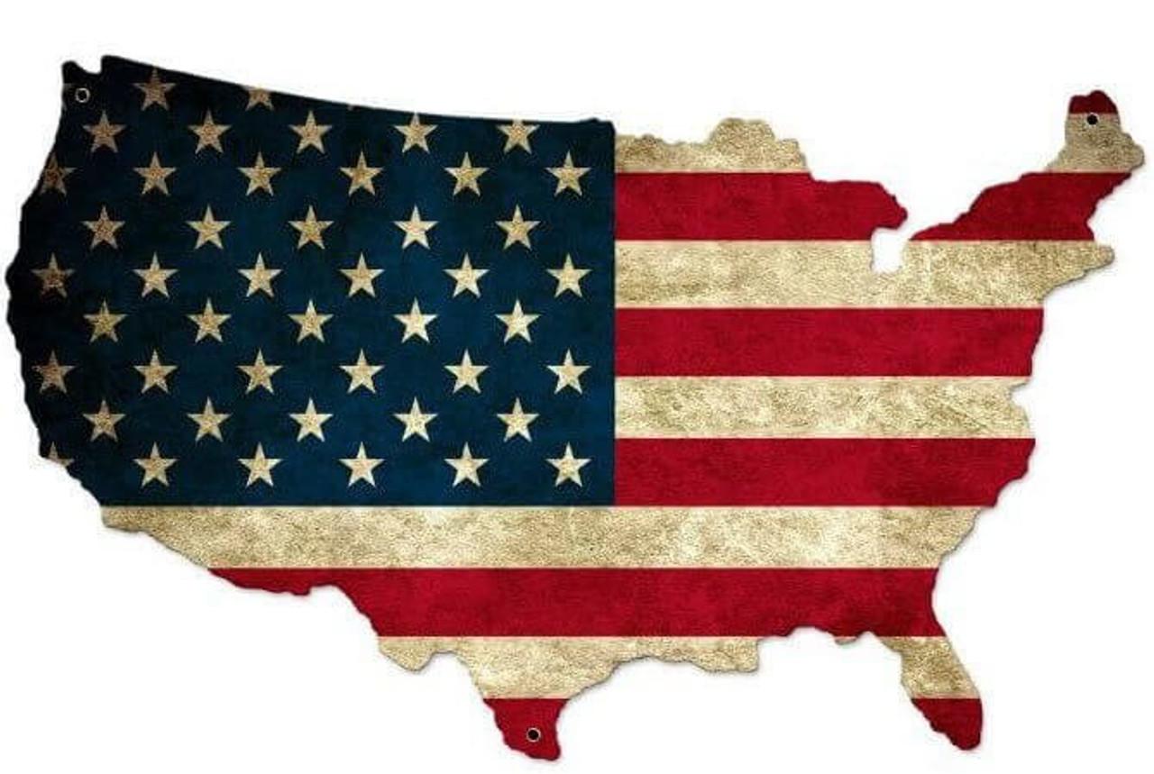 USA United States Flag Custom Shape Metal  Sign 26 x 16 Inches