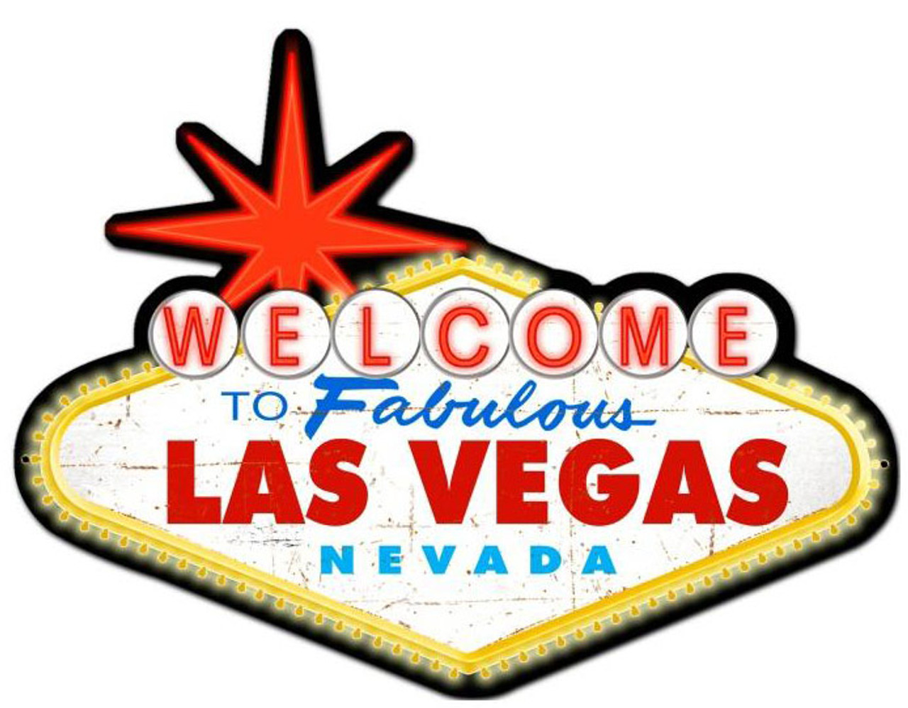Welcome To Las Vegas Custom Metal Shape Sign 28 x 21 Inches