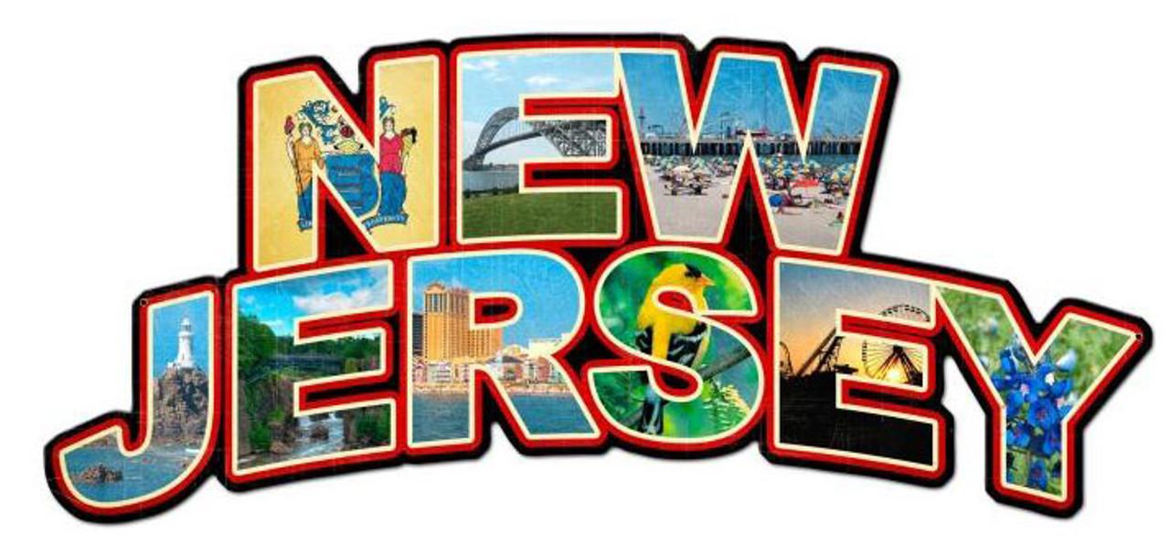 New Jersey Landmarks Custom Metal Shape Sign 28 x 13 Inches