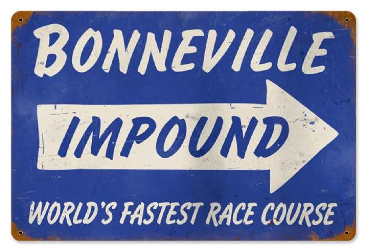 Retro Bonneville Impound Metal Sign 18 x 12 Inches