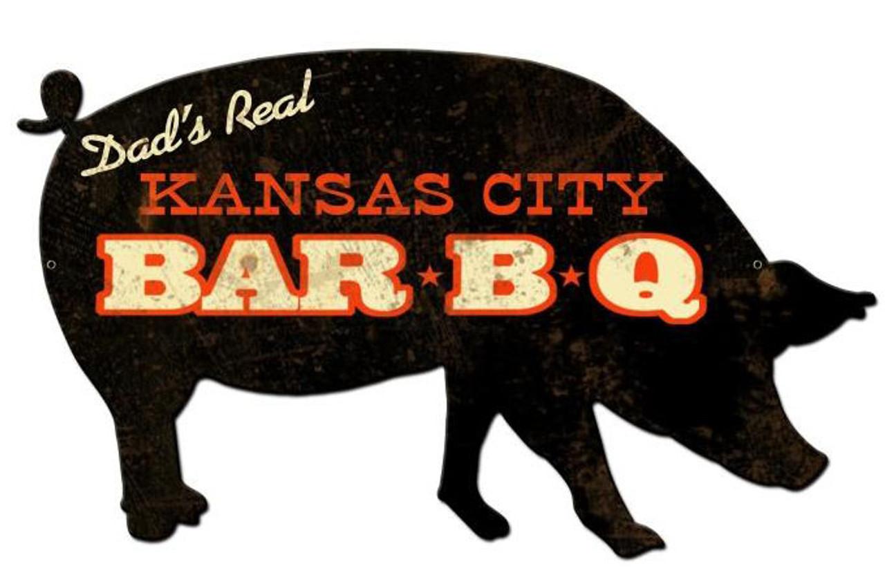 Kansas City BBQ Pig Custom Shape Metal Sign 26 x 15 Inches