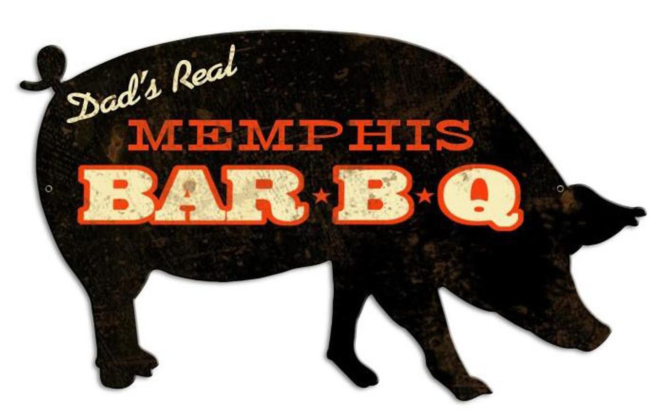 Memphis BBQ Pig Custom Shape Metal Sign 26 x 15 Inches