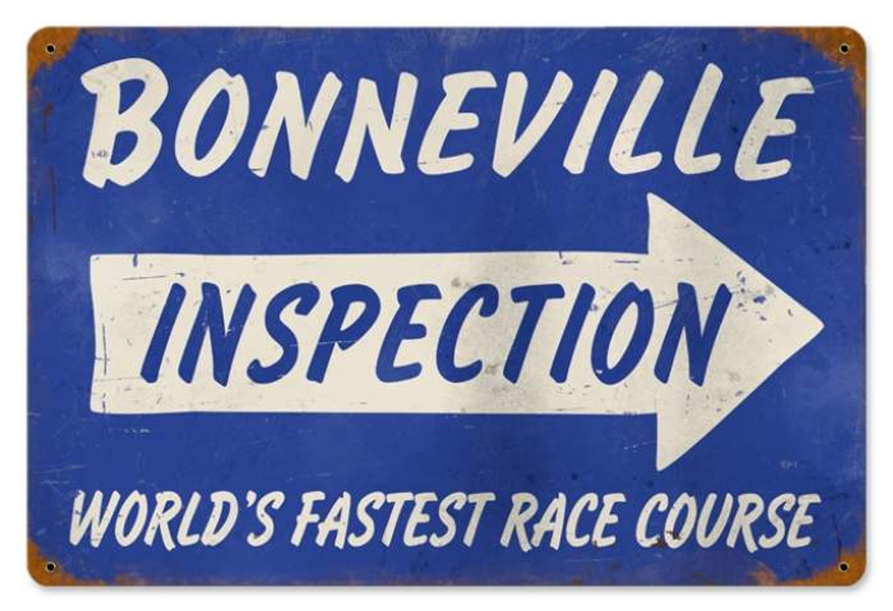 Retro Bonneville Inspection Metal Sign 18 x 12 Inches