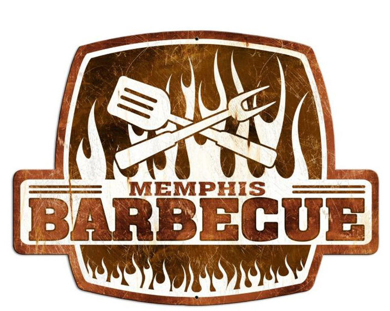 Memphis Barbecue Custom Shape Metal Sign 25 x 19 Inches