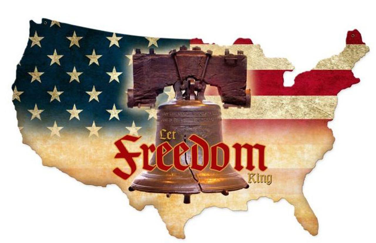 Freedom Working USA Custom Shape  Retro Metal Sign 25 x 16 Inches