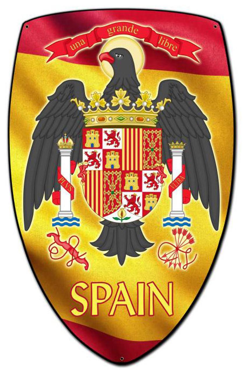 Spain Shield Custom Shape Metal Sign 21 x 32 Inches
