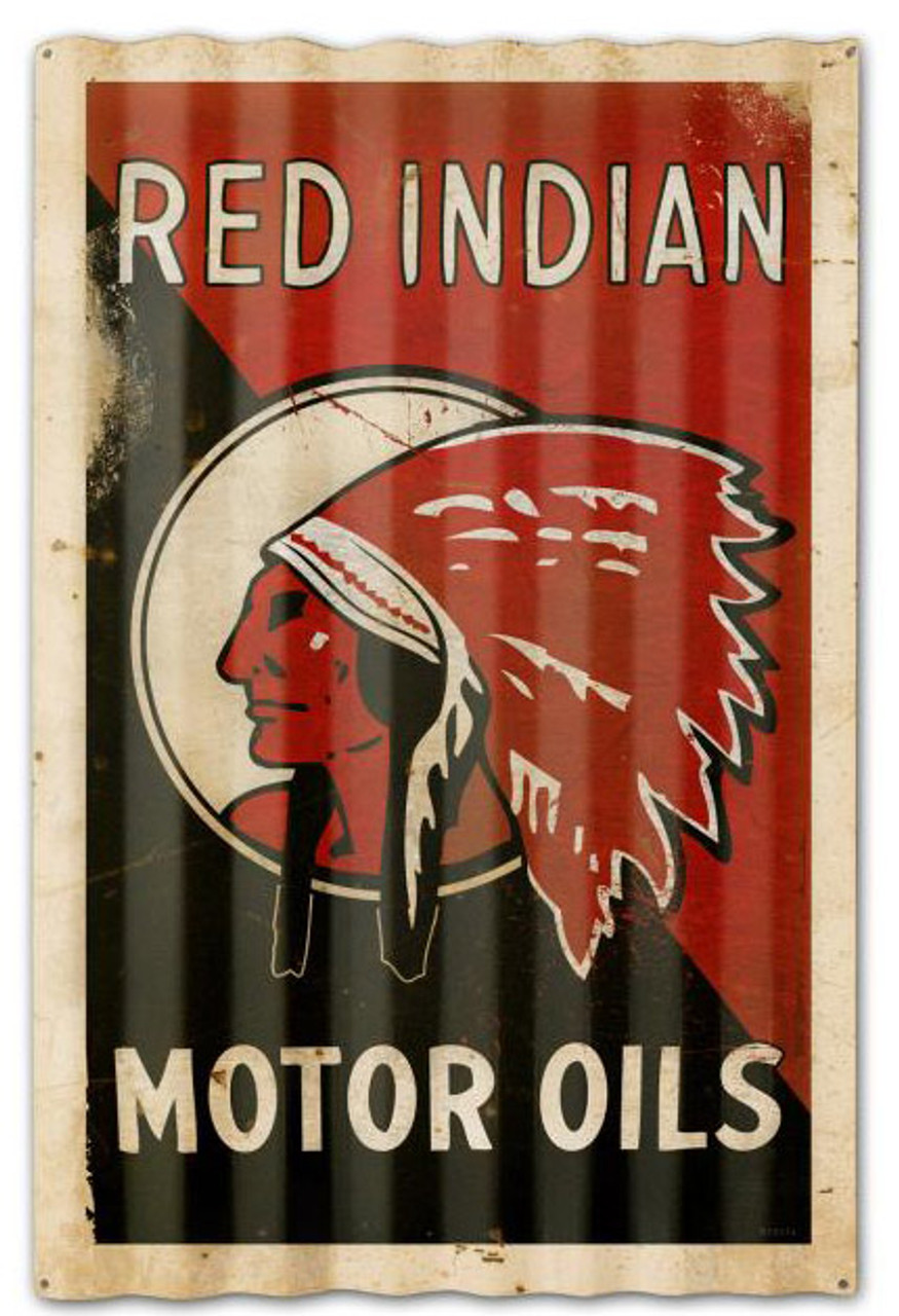 Red Indian Motor Oil Corrugated Rustic Barn  Sign 16 x 24 Inches