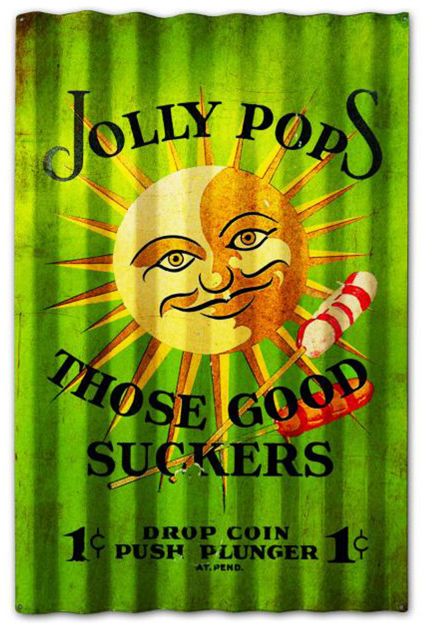 Jolly Pops Corrugated Rustic Barn  Sign 16 x 24 Inches