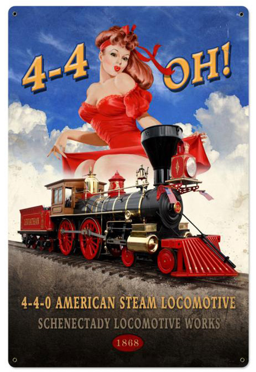 American Steam Locomotive Metal Sign 24 x 36 Inches