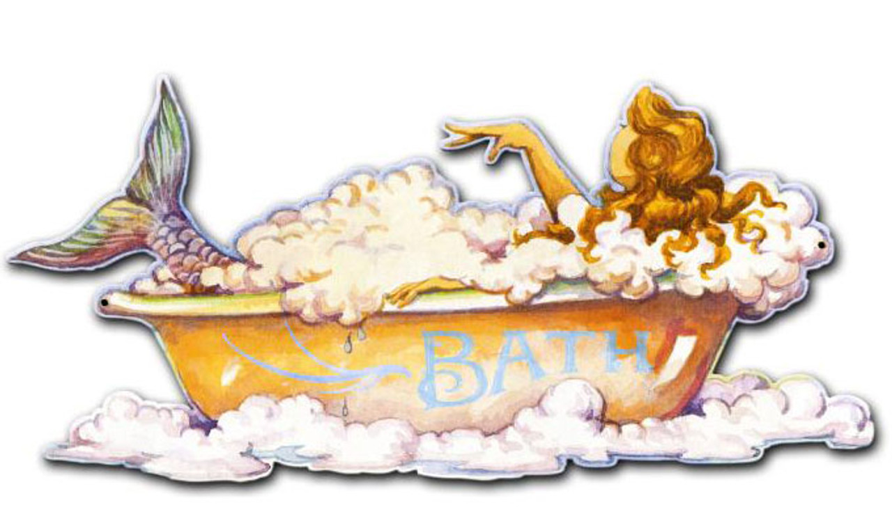 Mermaid Bath Custom Shape  Metal Sign 26 x 12 Inches