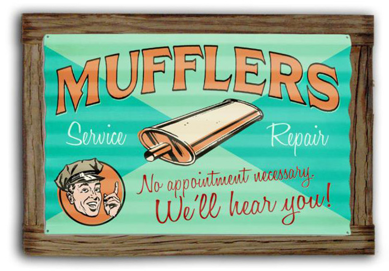 Muffler Service  Corrugated Rustic Metal and  Barn Wood Sign 24 x 16 Inches