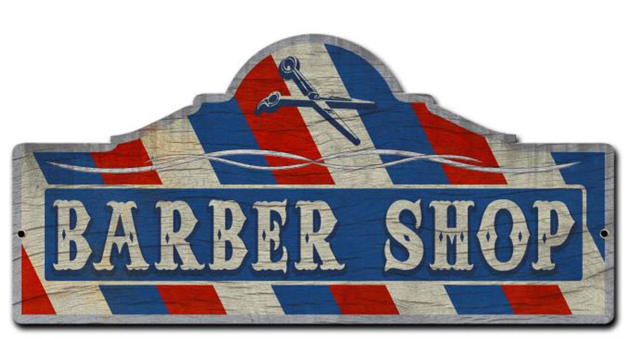 Barber Shop Custom  Shape Metal Sign 26 x 12 Inches