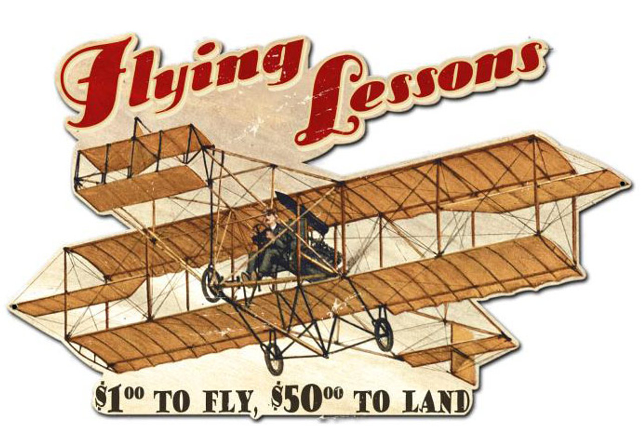 Flying Lessons Custom Shape Metal Sign 24 x 15 Inches