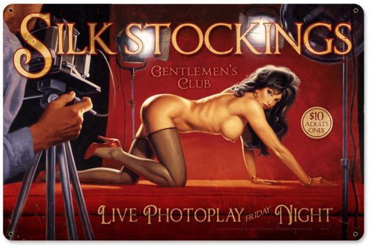 Silk Stockings Pin Up Girl Metal Sign 18 x 12 Inches