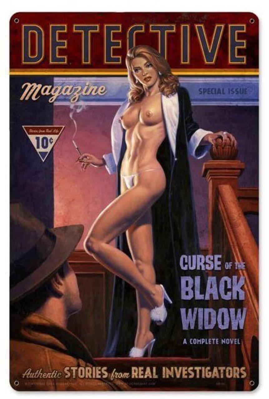 Detective Magazine Black Widow Metal Sign 12 x 18 Inches