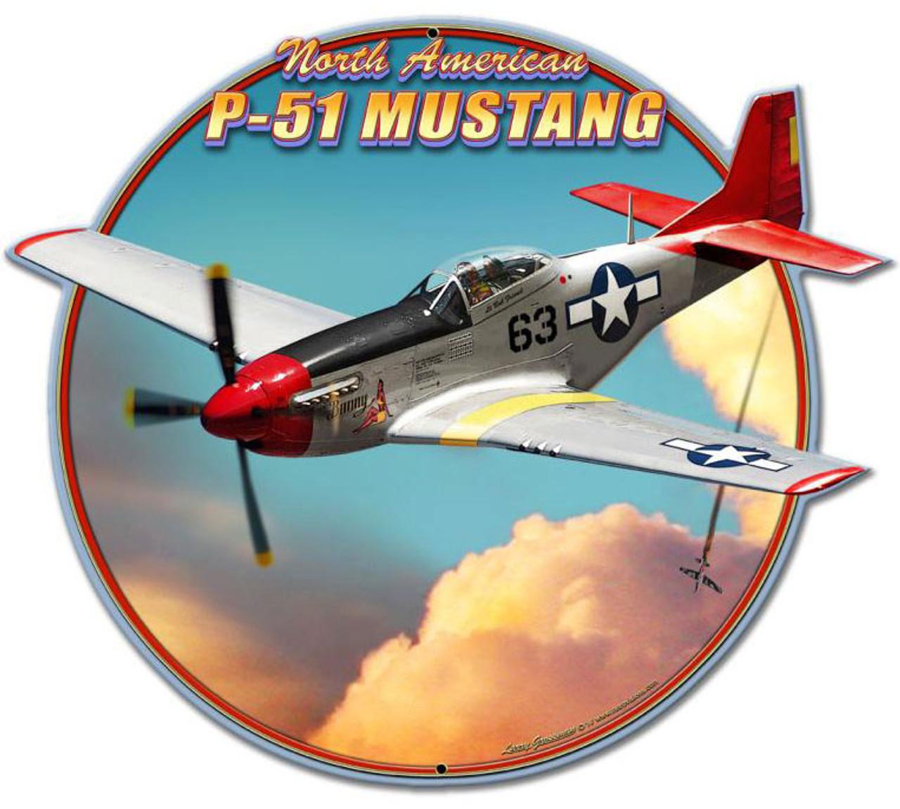 P51 Mustang Plasma  Custom Shape Metal Sign 16 x 16 Inches