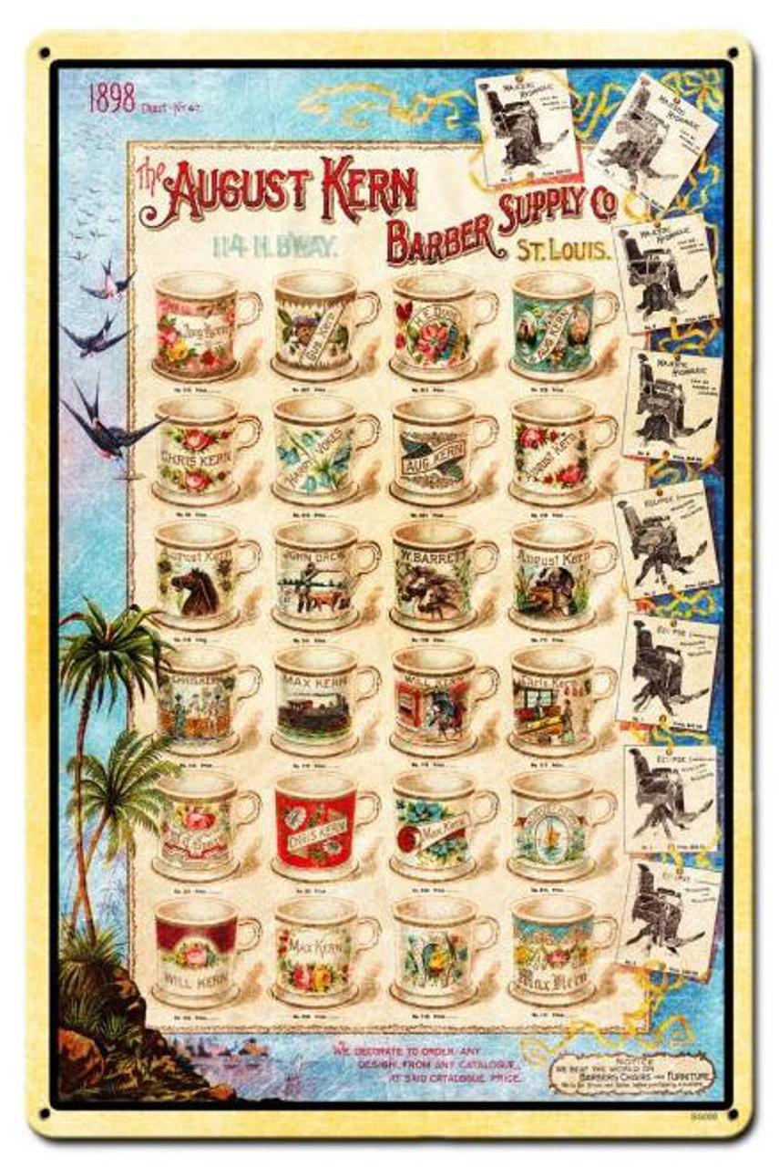 Barber Shop Mugs Vintage Metal Sign 12  x 18 Inches